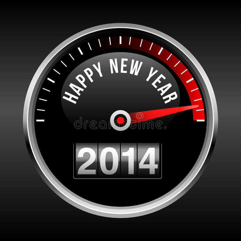 Fondo 2014 del tablero de instrumentos de la Feliz Año Nuevo ilustración del vector