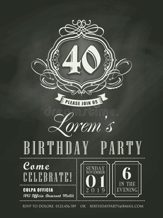Fondo del tablero de tiza de la tarjeta de la invitación del cumpleaños del aniversario ilustración del vector