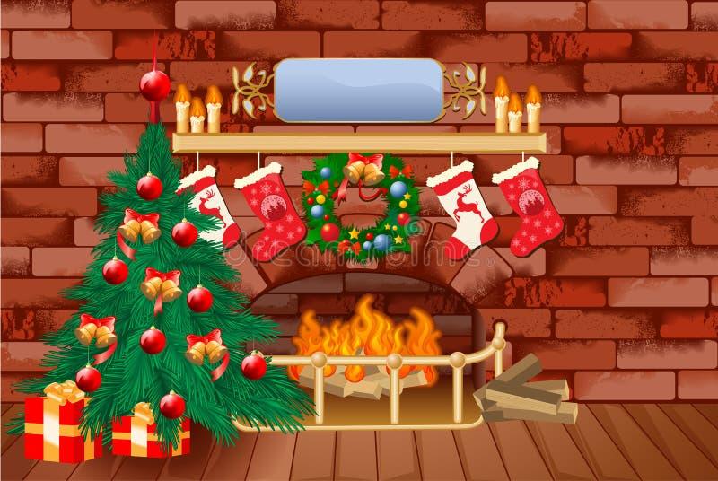Fondo del tema de la Navidad ilustración del vector