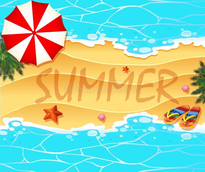 Fondo del tema del verano con la playa y el mar libre illustration