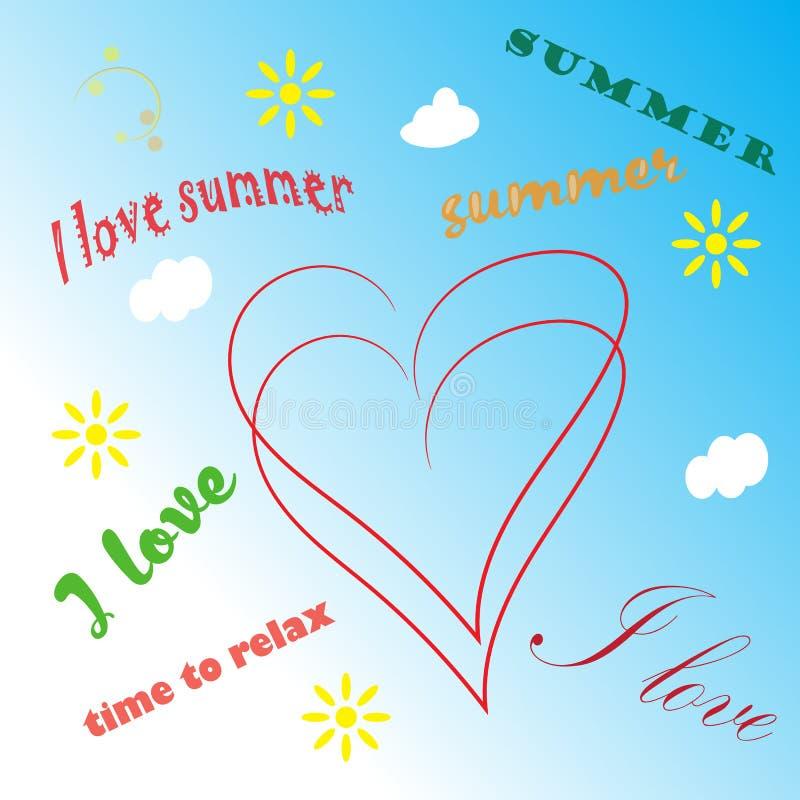 Fondo del tiempo de verano con el ejemplo del texto stock de ilustración