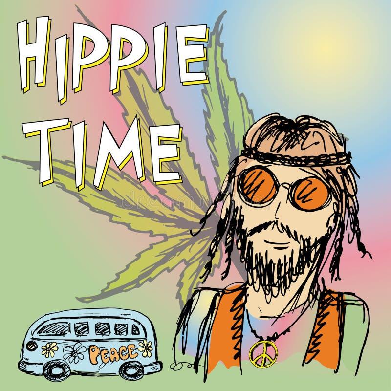 Fondo del tiempo del hippie ilustración del vector