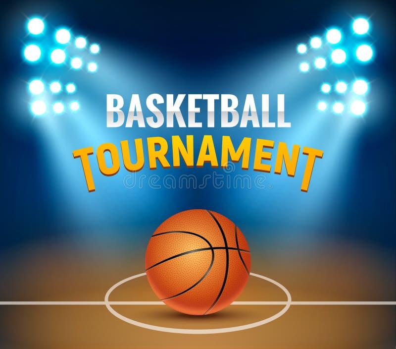 Fondo del torneo del vector del baloncesto Cartel del juego de la arena de la cancha de básquet Plantilla realista de la cesta de stock de ilustración