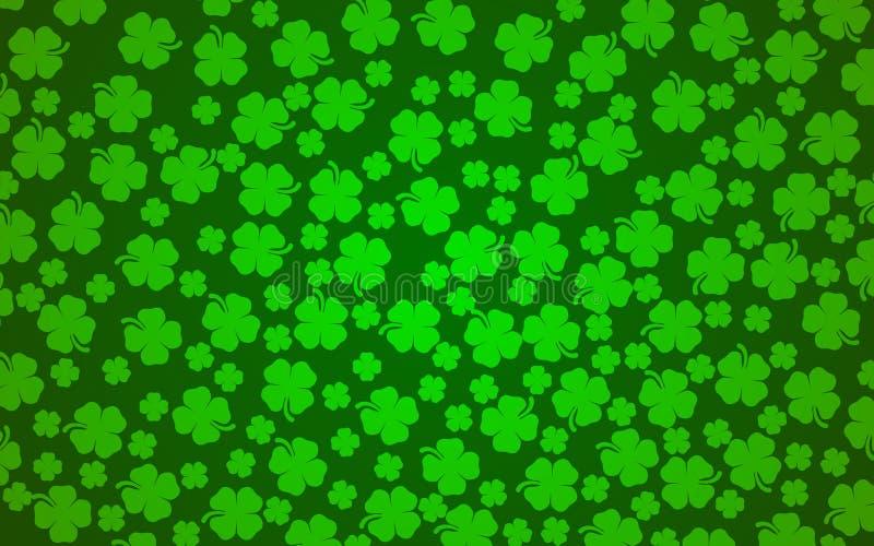 Fondo del trébol de la hoja de los tréboles 4 del día de St Patrick stock de ilustración