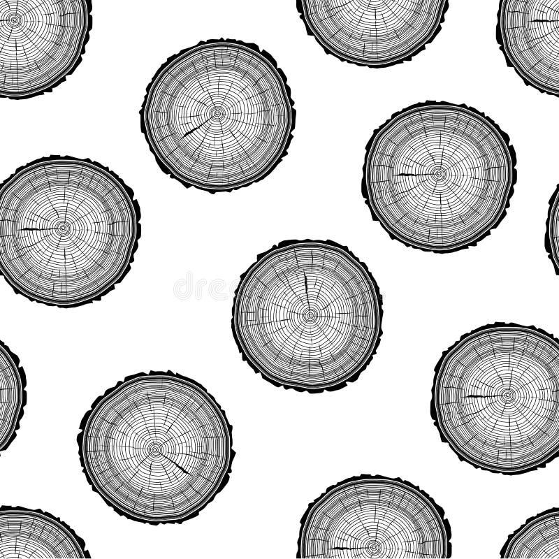 Fondo del tronco de árbol del corte de la sierra de los anillos de árbol inconsútil ilustración del vector