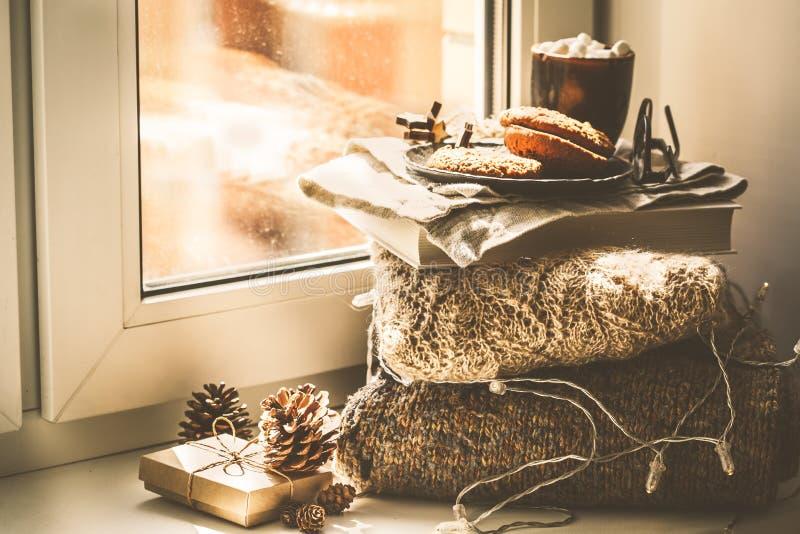 Fondo del umbral de Navidad con libros, cacao y galletas fotografía de archivo libre de regalías