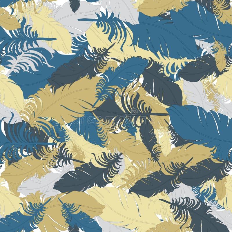 Fondo del vector azul, gris y marrón de las plumas ilustración del vector