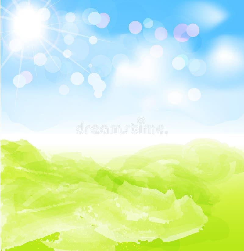 Fondo del vector con el sol, cielo azul ilustración del vector