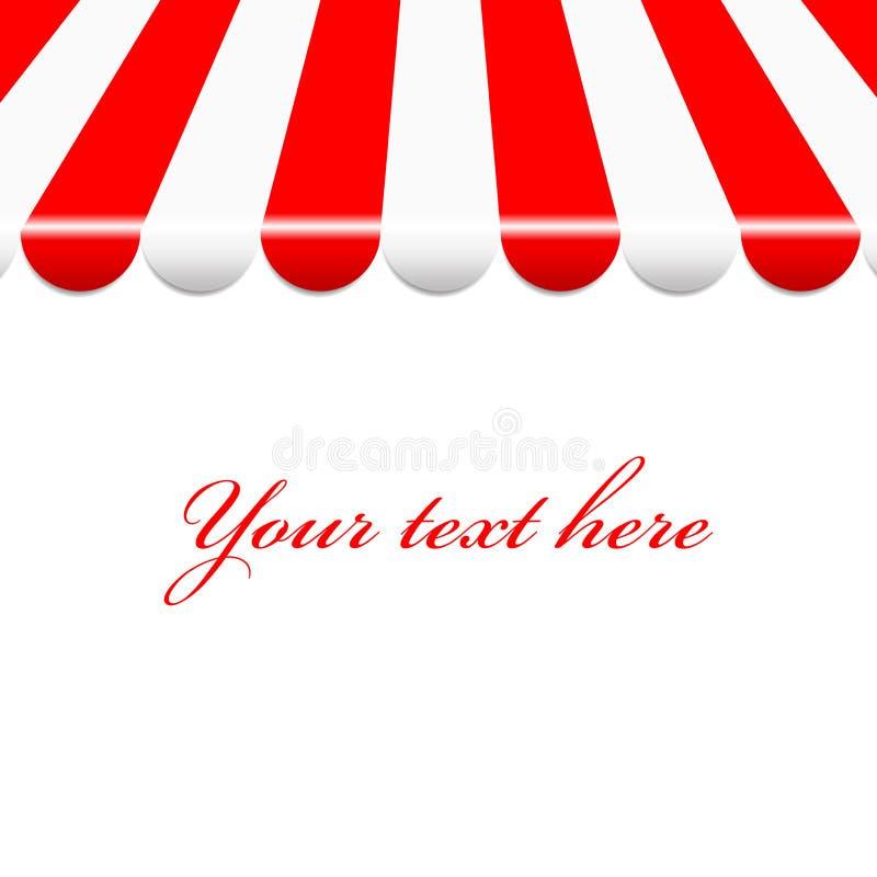Fondo con el toldo rojo y blanco stock de ilustración
