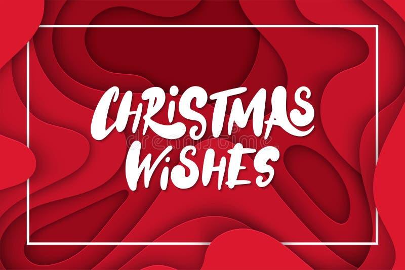 Fondo del vector con formas de color rojo oscuro del corte del papel del color la Navidad abstracta 3D desea poner letras, dispos stock de ilustración