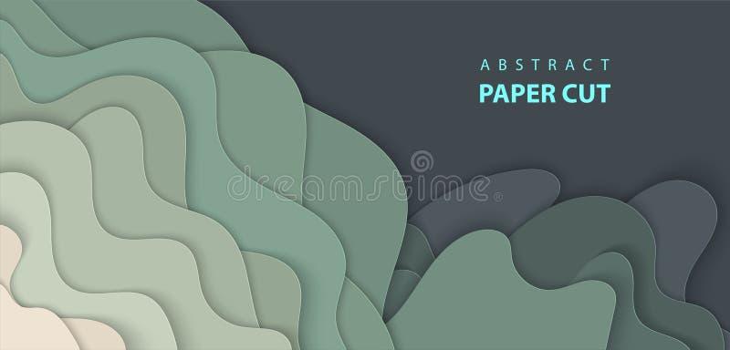 Fondo del vector con formas verde oscuro del corte del papel del color ilustración del vector