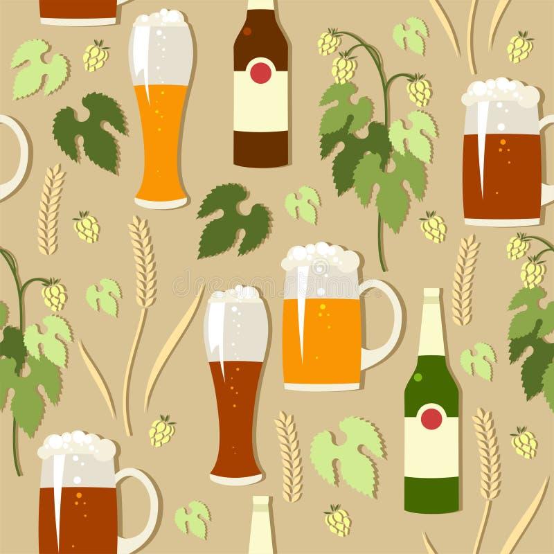 Fondo del vector con la cerveza ligera y oscura ilustración del vector