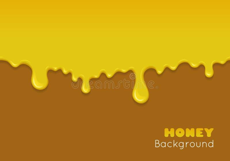 Fondo del vector con la miel que fluye stock de ilustración