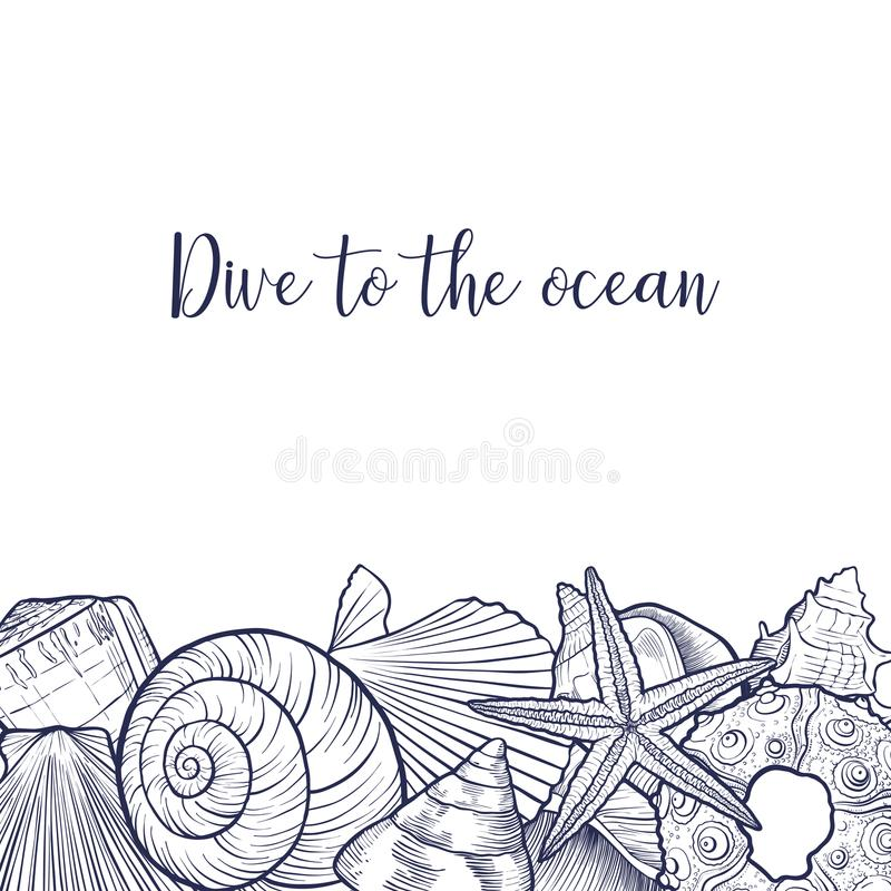 Fondo del vector con las conchas marinas libre illustration
