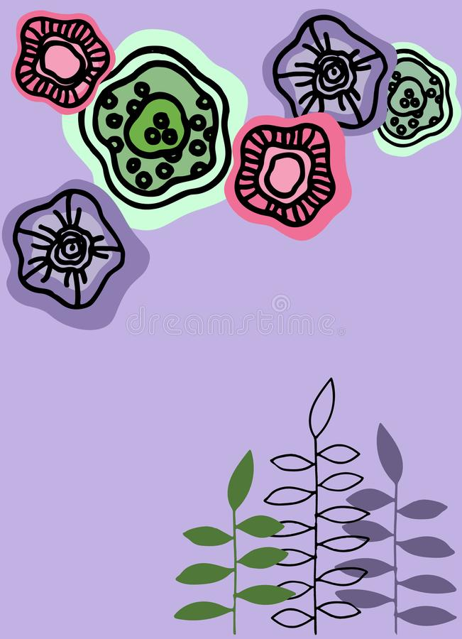Fondo del vector con las flores abstractas Plantilla para la presentaci?n, bandera, aviador, invitaci?n, forma, papel de carta stock de ilustración