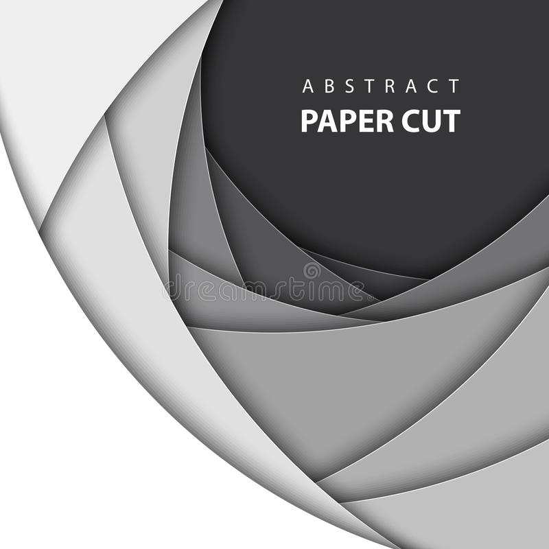 Fondo del vector con las formas blancas y negras del corte del papel del color libre illustration