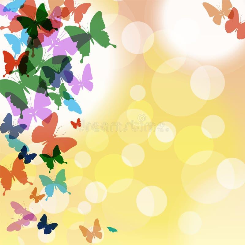 Fondo del vector con las mariposas y las burbujas coloridas stock de ilustración