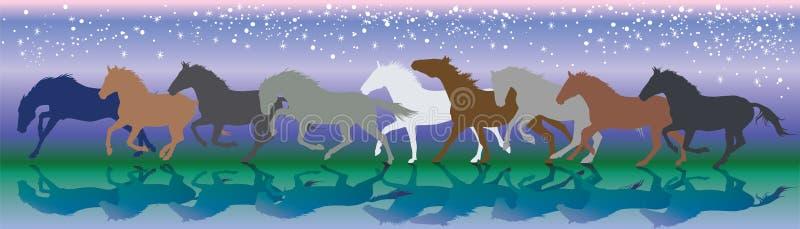 Fondo del vector con los caballos que funcionan con galope en la noche stock de ilustración