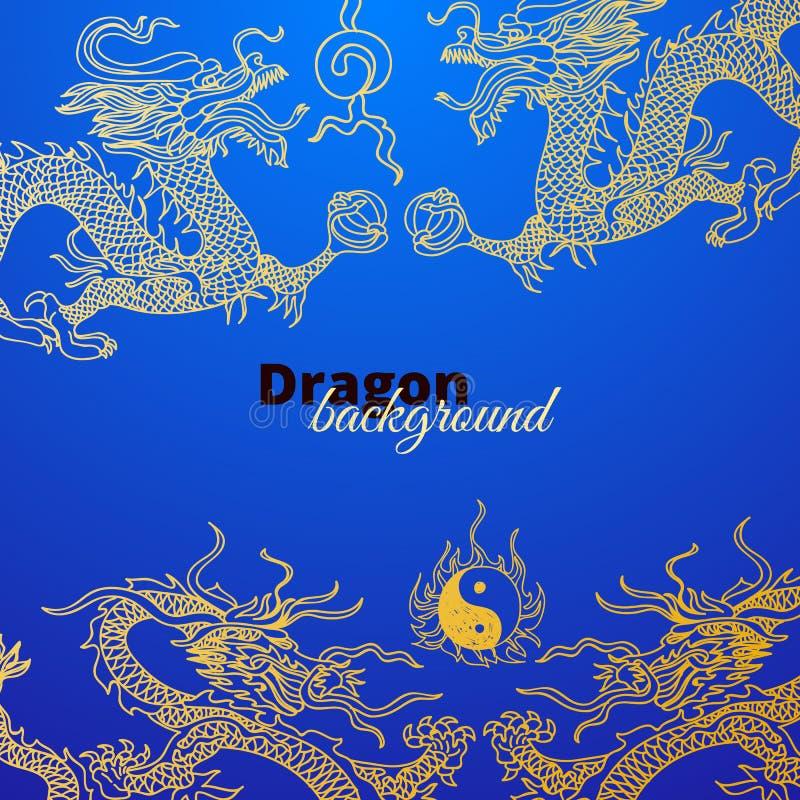 Fondo del vector con los dragones de Asia Mano drenada stock de ilustración