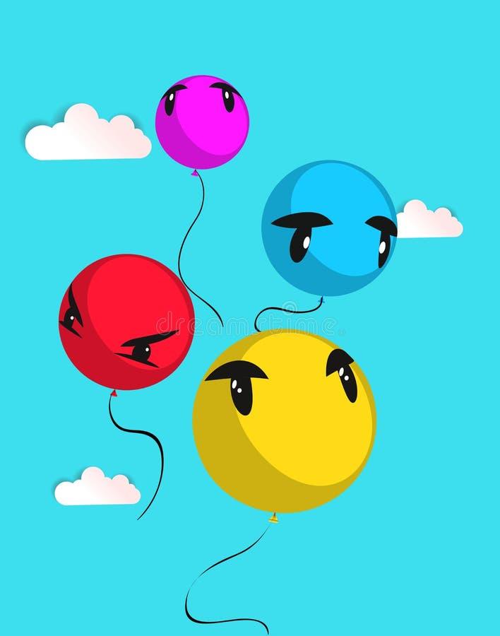 Fondo del vector con los globos coloreados stock de ilustración