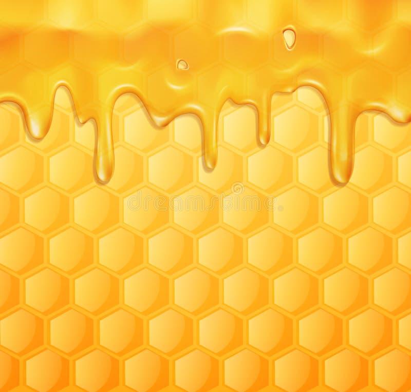 Fondo del vector con los panales y la miel stock de ilustración