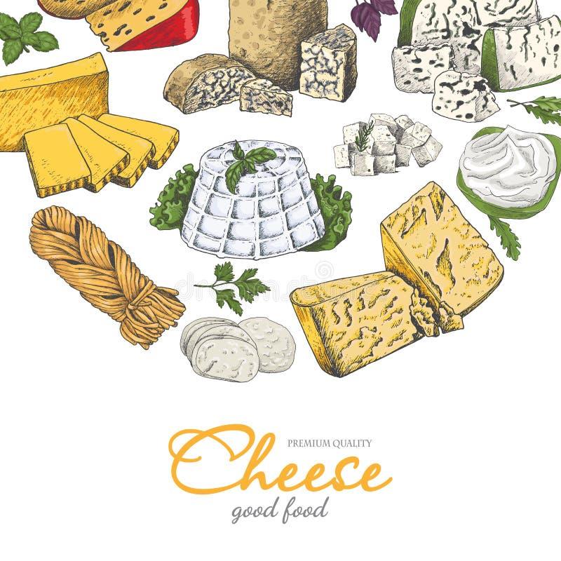 Fondo del vector con quesos en estilo del bosquejo libre illustration