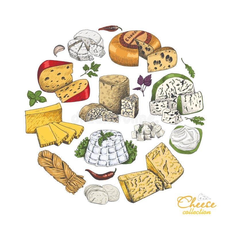 Fondo del vector con quesos en estilo del bosquejo ilustración del vector