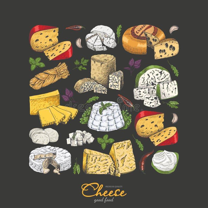 Fondo del vector con quesos en estilo del bosquejo stock de ilustración