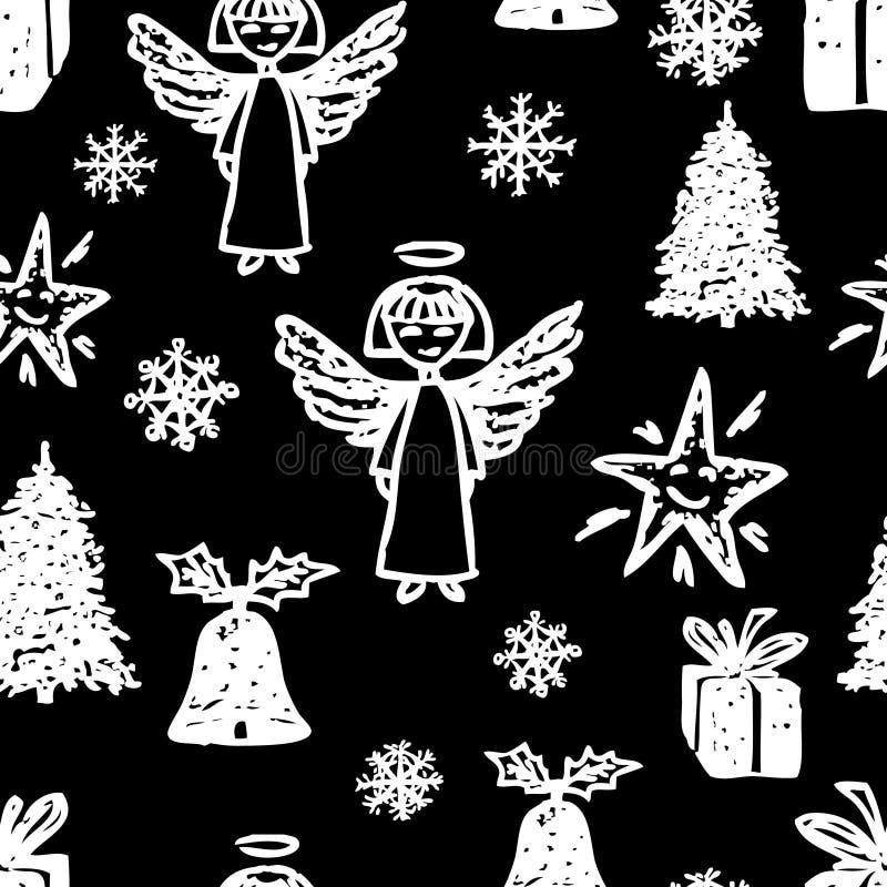 Fondo del vector con símbolos de la Navidad ilustración del vector