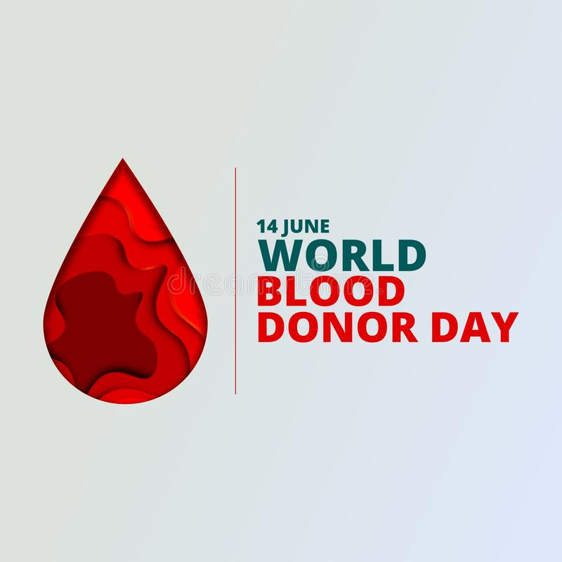 Fondo del vector del d?a del donante de sangre del mundo El cartel de la conciencia con el papel rojo cort? gota de sangre 14 de  ilustración del vector