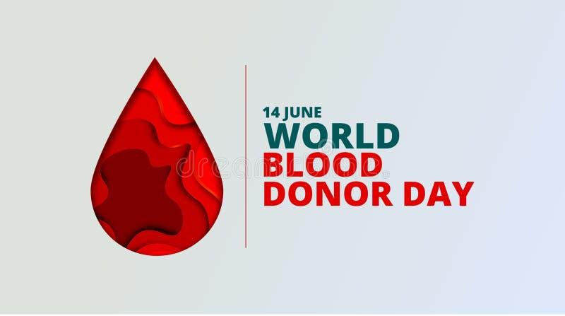 Fondo del vector del d?a del donante de sangre del mundo El cartel de la conciencia con el papel rojo cort? gota de sangre 14 de  stock de ilustración