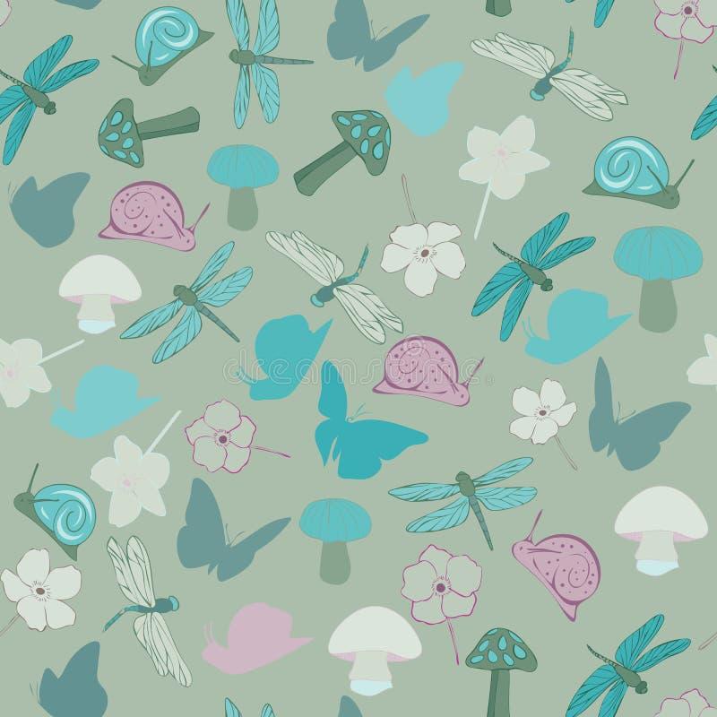 Fondo del vector de Forest Floral Seamless Repeat Pattern stock de ilustración