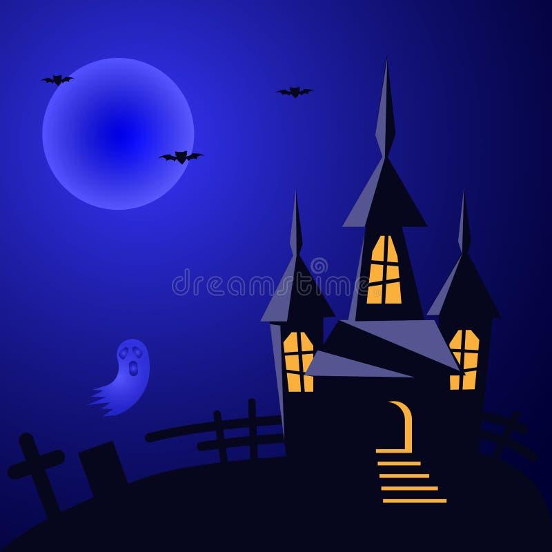 Fondo del vector de Halloween con la casa fantasmagórica stock de ilustración