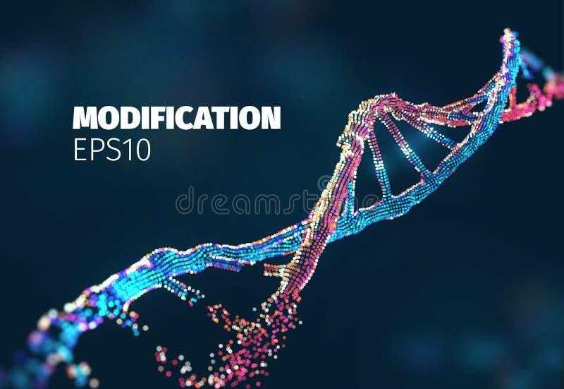 Fondo del vector de la biotecnología Concepto gen?tico de la DNA aislado en el fondo blanco La DNA se modificó Gen que corrige la stock de ilustración