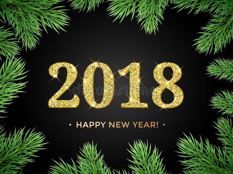 Fondo del vector de la Feliz Año Nuevo 2018 con el marco del árbol de navidad de la rama del abeto libre illustration