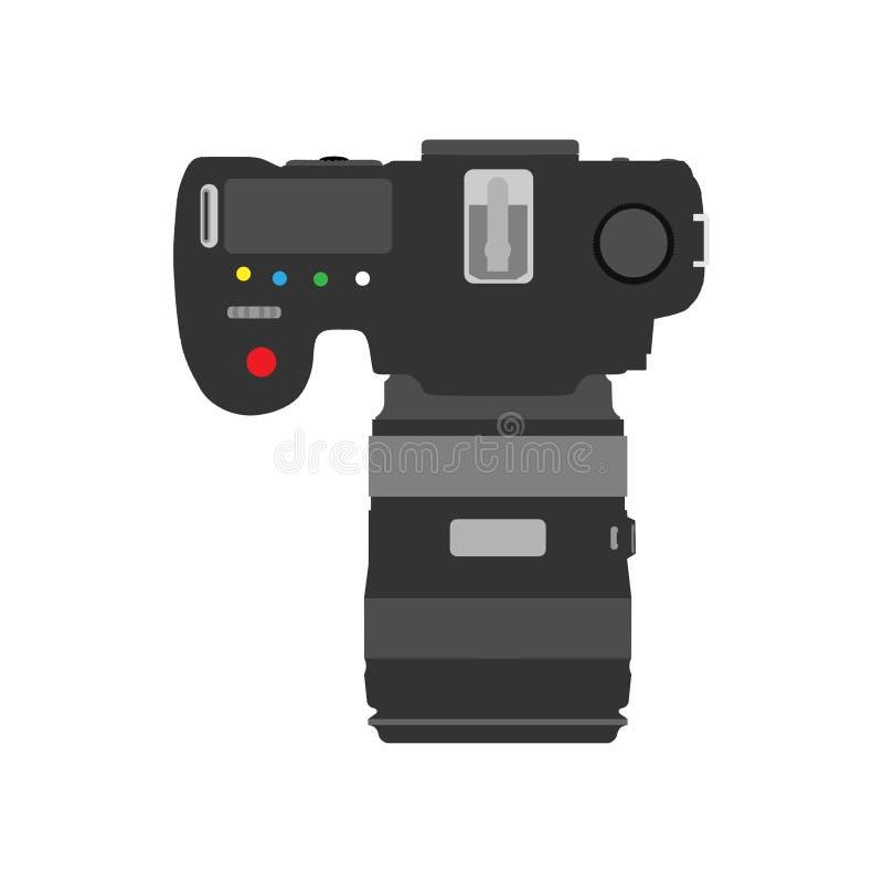Fondo del vector de la opinión superior de la cámara de la foto Digita del vintage; objeto del icono del diseño de la fotografía  stock de ilustración