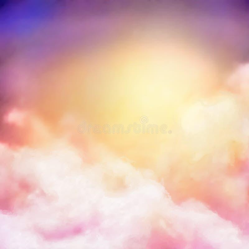 Fondo del vector de la pintura del cielo de la salida del sol ilustración del vector