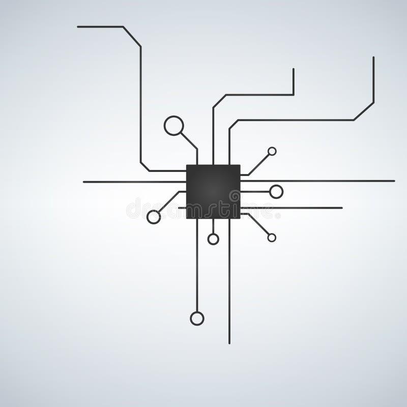 Fondo del vector de la placa madre del ordenador con los elementos electrónicos de la placa de circuito Microprocesador electróni stock de ilustración