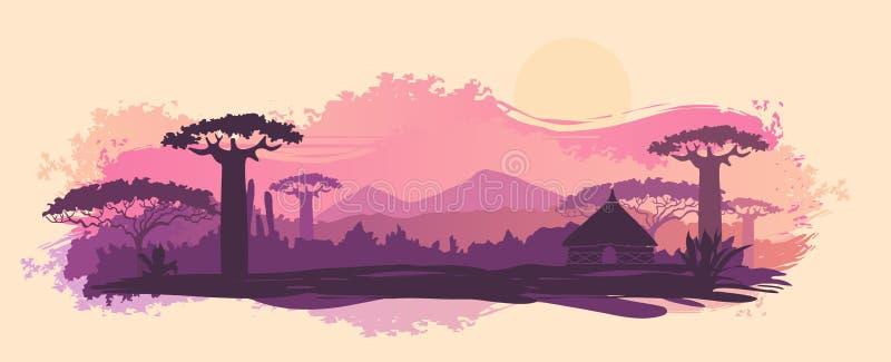 Fondo del vector de la puesta del sol africana del paisaje stock de ilustración