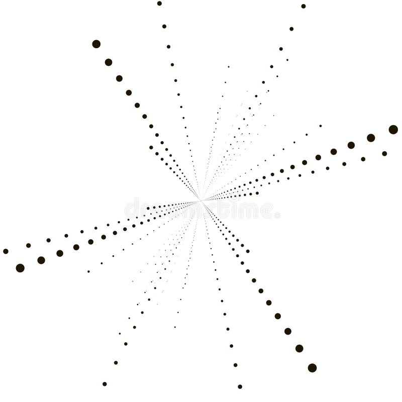 Fondo del vector de la tecnología con la deformación de la estrella o Hyperspace geométrico Rastro monocromático abstracto Ilustr ilustración del vector