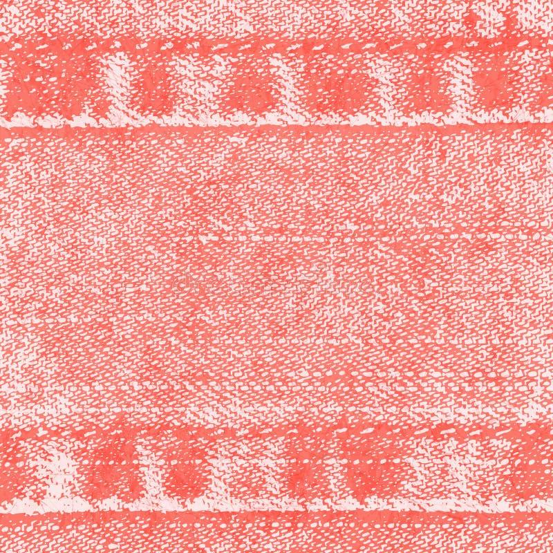 Fondo del vector de la tela con las costuras, paño rojo claro de los vaqueros, color del dril de algodón del coral de vida stock de ilustración