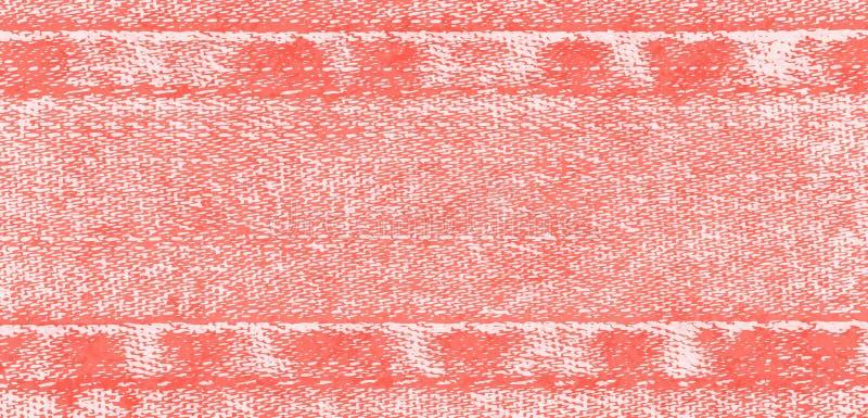 Fondo del vector de la tela con las costuras, paño rojo claro de los vaqueros, color del dril de algodón del coral de vida libre illustration