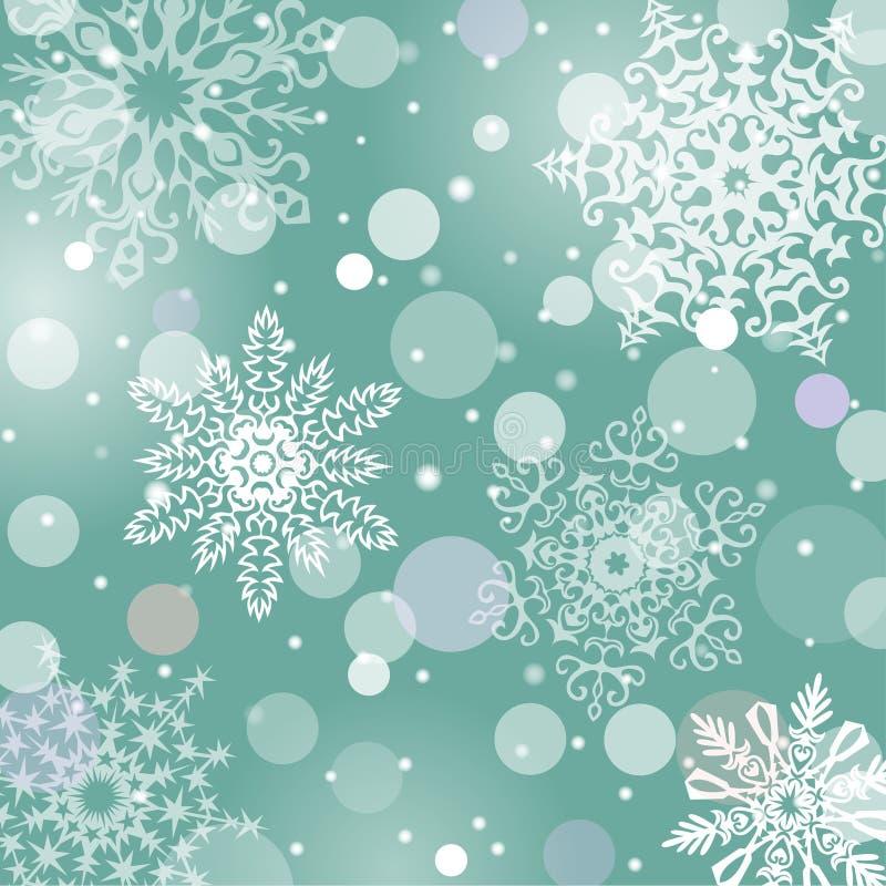 Fondo del vector de los copos de nieve de la Navidad ilustración del vector