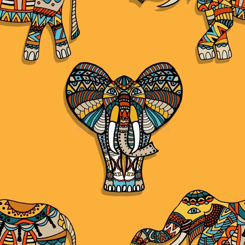 Fondo del vector de los elefantes stock de ilustración
