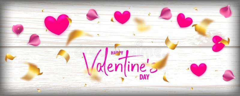 Fondo del vector de madera 3d de día de San Valentín libre illustration