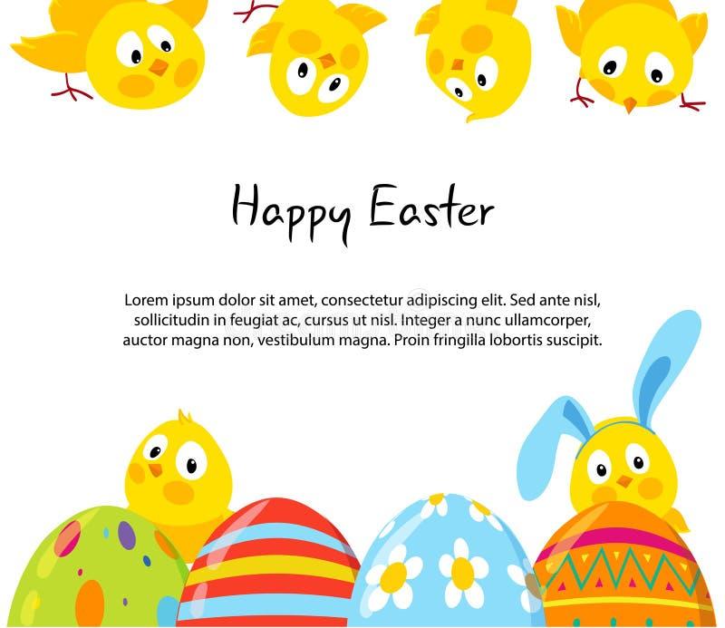 Fondo del vector de Pascua con los polluelos y los huevos lindos ilustración del vector