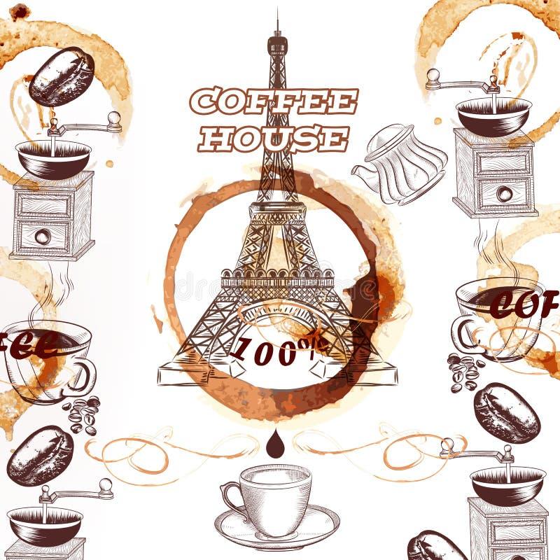 Fondo del vector del café con la torre Eiffel y el café dibujados mano libre illustration