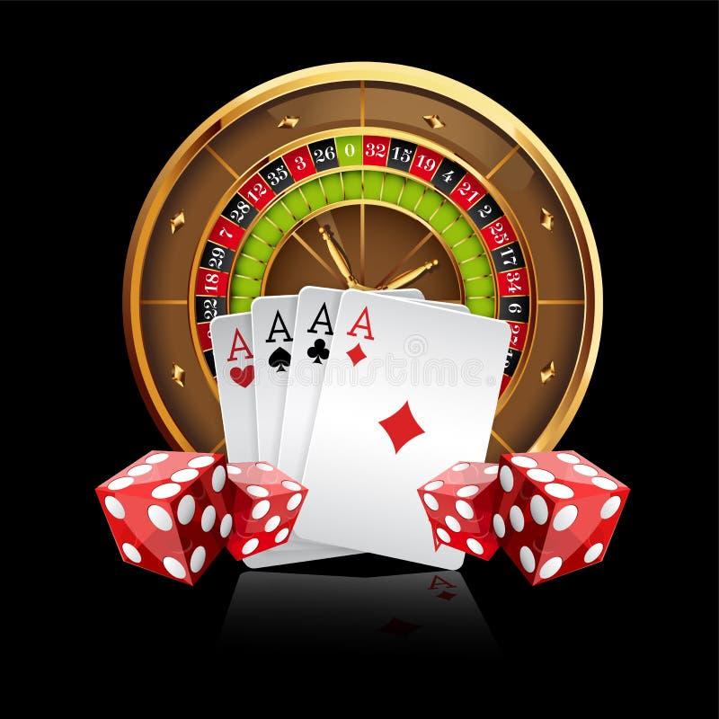 Fondo del vector del casino con la rueda de ruleta stock de ilustración