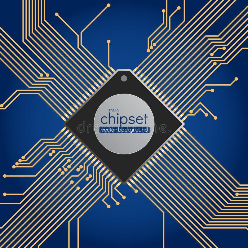 Fondo del vector del circuito del chipset stock de ilustración