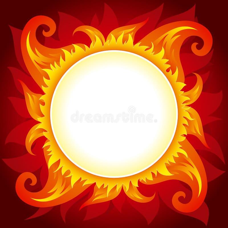 Fondo del vector del fuego o del sol ilustración del vector